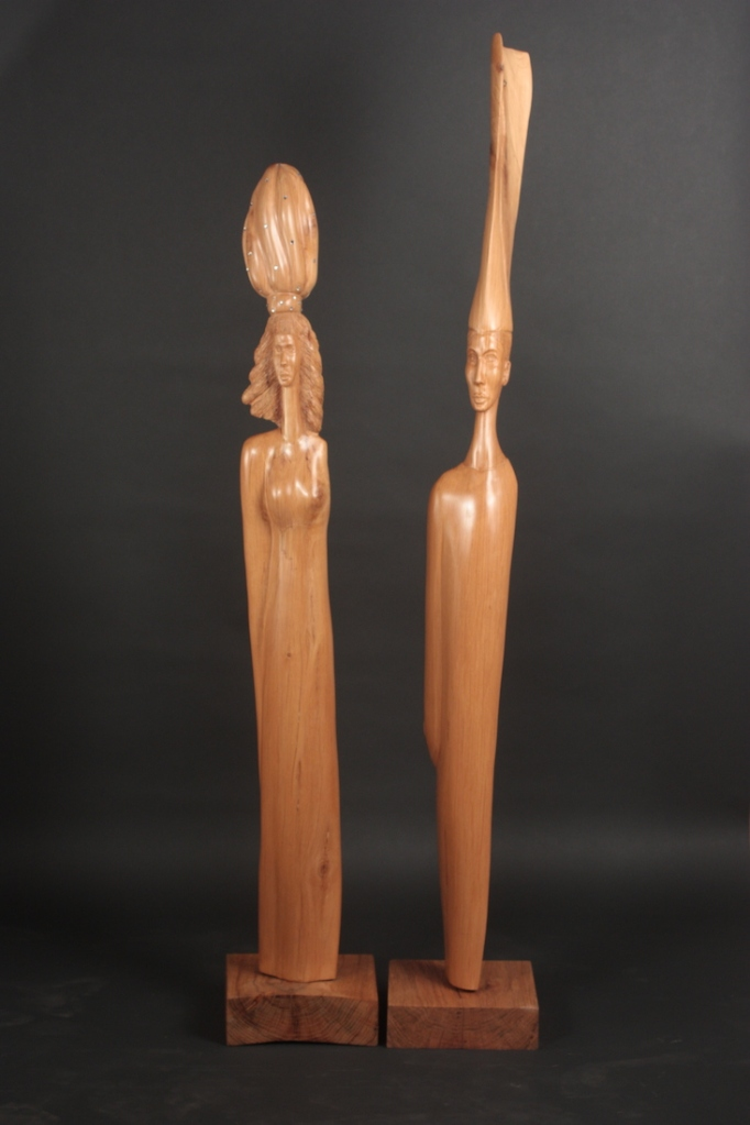 "The King & The Queen Exotic Pine King: H54"" W8.5"" D8.5"" Queen: H45"" W8.5"" D8.5"""
