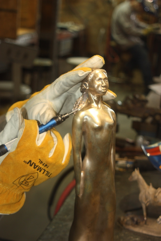 """Mandela-Belle during """"metal Check"""" and before patina.   Location: Deep in the Heart Foundry, Bastrop, TX"""